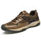 Men Breathable Mesh Lace-up Soft Hard Wearing Non Slip Outdoor Shoes - Khaki