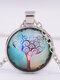 Vintage Gemstone Glass Printed Women Necklaces Landscape Tree Pendant Necklaces - #01