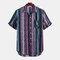 رجل العرقية مخطط المطبوعة جيب الصدر رفض طوق قصيرة الأكمام عارضة قمصان فضفاضة