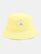 Women & Men Smile Embroidery Pattern All-match Outdoor Casual Sunshade Bucket Hat - Yellow