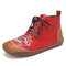LOSTISY Women Soft Tribal Embroidered Splicing Leather Hand Stitching Ankle Boots - Red