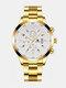 Alloy Steel Band Business Calendar Men Casual Fashion Quartz Watch - White+Gold