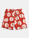 Mens All Over Daisy Floral Print Holiday Drawstring Swim Trunks - Red