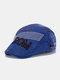 Men Cotton Letter Argyle Pattern Eembroidery Sunscreen Casual Beret Flat Caps - Blue