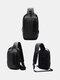 カジュアルダクロンマルチポケット盗難防止通気性防水イヤホン穴USB充電デザインチェストバッグ - 黒