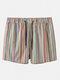 Multi Striped Shorts Casual Mesh Lining Mini Shorts Swim Trunks for Men - Stripe