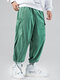 Mens Corduroy Solid Drawstring Cargo Pants With Multi Pockets - Green