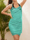 Women Thin Guipure Lace Cotton Sun Protection Cover Up - Green