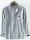 Mens Cotton Dog Embroidery Striped Printed Breathable Long Sleeve Henley Shirt - Grey