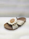 Plus Size Women Knitted Artificial Flower Cloth Flat Shoes Casual Firework Design Slippers - Beige-flower