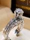 Trendy Geometric Metal Diamond Rings Temperament Rhinestone Rings - #07