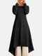 Solid Color Button Curved Hem Casual Muslim Dress for Women - Black