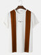 Mens Knit Two Tone Patchwork Embroidered Preppy Short Sleeve T-Shirts - Coffee