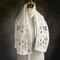 Women Solid Color Printing Pattern  Linen Long Scarf Shawl  Multi-Purpose  Elegant Neck Wrap - White