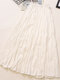 Casual Solid Color Pleated High Elastic Waist A-Line Midi Dress - White