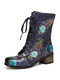 SOCOFY Elegant Printed Leather Comfy Wide Fit Round Toe Short Boots - Purple