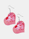 Vintage Heart-Shape Valentine's Day Heart Multilayer PU Leather Earrings - #04