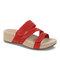 Plus Size Women Rhinestone Opened Toe Hook Loop Platform Casual Slide Sandals - Red