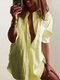 Casual Solid Color Stand Collar Plus Size Shirt - Yellow