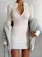 Solid Color Zip Front V-neck Long Sleeve Plus Size Sexy Dress - White