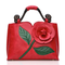 Brenice Women National Style Flower Decoration PU Leather Handbags Crossbody Bag - Red