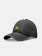Unisex washed Made-old Cotton Solid Color Broken Hole Letter Embroidery Baseball Cap - Black