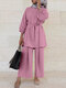 Solid Color Waistband Knotted Long Sleeve Casual Muslim Set for Women - Purple