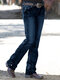 Solid Color Embroidery Pockets Casual Jeans For Women - Navy