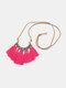 Bohemian Cotton Thread Tassel Long Necklace - #10