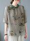 Vintage Flower Print Button Half Sleeve Lapel Collar Blouse - Green