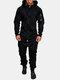 メンズフード付きジャンプスーツ全体ダブルオープンジップアップジョガーメンズカバーオールスウェットスーツ - 黒