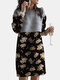 Calico Print Patchwork Long Sleeve Casual Dress For Women - Black