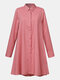 Women Solid Color Button Lapel Long Sleeve Casual Blouse - Pink