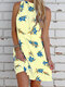 Floral Print Sleeveless Backless Casual Dress For Women - Yellow