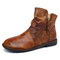 SOCOFY Retro Tie-dye Cowhide Leather Warm Wearable Side Zipper Casual Round Toe Flat Ankle Boots - Brown
