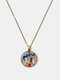 Metal Round Glass Beckoning Cat Print Women Pendant Necklace Jewelry Gift - Bronze