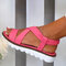 Women Solid Color Cross Strap Back Elastic Wearable Casual Flat Sandals - Pink
