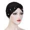 Womens Vintage Tie Bead Beanie Cap Casual Milk Silk Soft Solid Bonnet Hat Headpiece - Black
