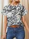 Camiseta casual de manga corta con cuello redondo y estampado de grafiti para Mujer - Negro