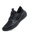 Men Hand Stitching Leather Splicing Mesh Fabric Breathable Soft Non Slip Casual Driving Shoes - Black