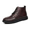Men British Style Round Toe Lace Up Leather Ankle Boots - Brown