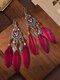 Alloy Vintage Ethnic Color Dipping Oil Heart-shaped Long Feather Earrings - Wine Red