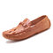 Men  Crocodile Pattern Driving Loafers Slip On Casual Leather Shoes - Brown