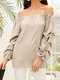 Solid Color Long Sleeve Chiffon Loose Blouse For Women - Apricot