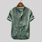 Mens Vintage Solid Color Stand Collar Short Sleeve Loose Single-breasted Casual Shirt