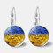 Vintage Geometric Round Oil Painting Series Earrings Metal Glass Gem Daisy Pendant Ear Clips - 4