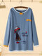 Cartoon Embroidery Crew Neck Plus Size Pullover Cotton Sweatshirt - Blue