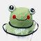 Children's Dust Cap Detachable Face Screen Windproof Transparent Fisherman Hat  - Green