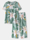 Plus Size Women Flower Print Pleated Pajamas Sets With Cropped Pants - Green