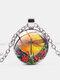 Vintage Dragonfly Printed Women Necklace Adjustable Flower Glass Pendant Necklace - Silver